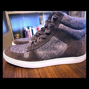 Express Men's Gray Suede High Top Sneakers